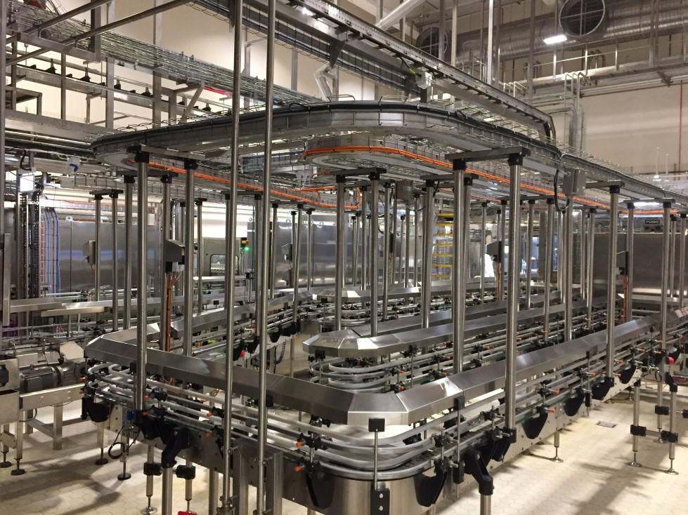 Transportný systém pre distribúciu plastových fliaš